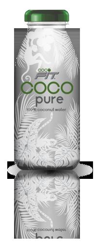 100% pure coconut water in glass bottle