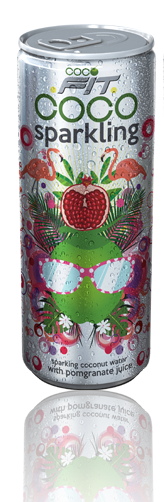 sparkling coconut water with pomegranate juice